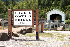Lowell covered bridges sign. Stock Images