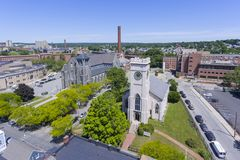 Lowell church aerial view, Massachusetts, USA. Lowell Immaculate Conception Church and Christ Church United aerial view in Lowell, Massachusetts, USA stock images