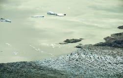 Lowell lodowiec i jezioro z górami lodowa, Kluane park narodowy, Yuk Obrazy Royalty Free