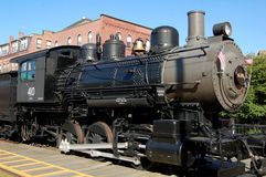 Lowell, MA: Boston & Maine Steam Engine. A vintage late 19th century Boston & Maine Railroad steam engine on display at the National Historical Park in Royalty Free Stock Images