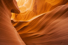 Lower Antelope Canyon. Located near Page Arizona on the Navajo reservation. A slot canyon is a narrow canyon, formed by the wear of water rushing through rock Royalty Free Stock Photo