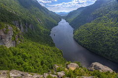 Lower Ausable Lake from Indian Head Lookout. A magnificent view of Lower Ausable Lake from the Indian Head Lookout in the high peaks region of the Adirondack Royalty Free Stock Photo