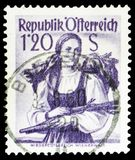 Lower Austria, Wienerwald, Provincial Costumes 1948/58 serie, circa 1949. MOSCOW, RUSSIA - MARCH 23, 2019: Postage stamp printed in Austria shows Lower Austria stock images
