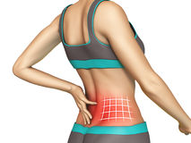 Lower back pain. Graphic on a young female body. Digital illustration, clipping path included Royalty Free Stock Images