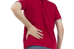 Lower back pain. Man is having a lower back pain, isolated on white background Royalty Free Stock Photography