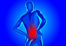 Lower back pain. Silhouette of abstract man Royalty Free Stock Image