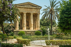 Lower Barrakka gardens  in Valletta. Lower Barrakka gardens and the monument to Alexander Ball in Valletta Stock Photo