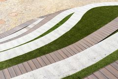Lower beds with lawn and seats royalty free stock photo