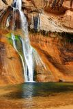 Lower Calf Creek Falls, Escalante National Monument, Utah. Lower Calf Creek Falls is at the end of a beautiful hike through a narrow canyon that was carved out stock photos