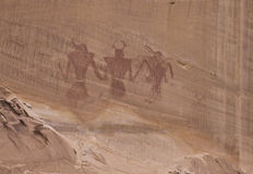 Lower Calf Creek Pictographs. These pictographs can be found on the canyon wall abpve the trail leading to Lower Calf Creek Falls and are likely made by the Stock Images