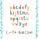 Lower case alphabet with Colorful hand drawn. Colorful hand drawn doodle alphabet with lower case letters and  punctuation marks. Vector set Stock Photos
