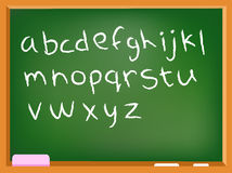 Lower case chalkboard alphabet Stock Images
