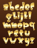 Lower case gold alphabet vector illustration