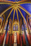 Lower Chapel Paris. Beautiful lower chapel of the Sainte-Chapelle (Holy Chapel), a royal medieval Gothic chapel in Paris, France, on April 10, 2014 Stock Photos