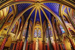 Lower chapel Sainte-Chapelle. Beautiful lower chapel of the Sainte-Chapelle (Holy Chapel), a royal medieval Gothic chapel in Paris, France, on April 10, 2014 Stock Images