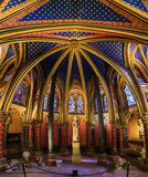 Lower Chapel wide angle. Beautiful lower chapel of the Sainte-Chapelle (Holy Chapel), a royal medieval Gothic chapel in Paris, France, on April 10, 2014 Royalty Free Stock Images