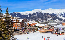 Lower Chenus  lift station. Ski Resort Courchevel 1850 m Stock Photos