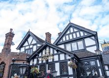 Lower Chequers Pub in Sandbach in Cheshire. The Lower Chequers is a half Timbered Elizabethan pub in the rural market town of Sandbach in Cheshire Stock Images