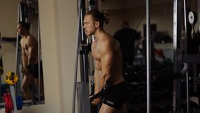 Lower chest workout in machine stock footage