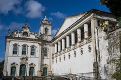 Lower city, Salvador, Bahia, Brazil. Church of Our Lady of Victory is a Baroque church the Lower city, Salvador, Bahia, Brazil royalty free stock photography