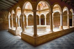 Lower cloister of the Carthusian monastery of Escaladei stock images