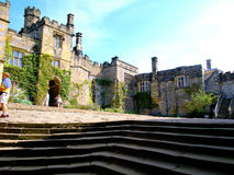 Lower courtyard, Haddon Hall, Derbyshire, UK. Stock Image