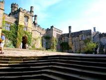 Lower courtyard, Haddon Hall, Derbyshire, UK. The lower courtyard of Haddon Hall, Peak district National Park, Derbyshire, England, UK Stock Image