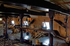 Lower Deck on Sailing Ship. A scene from a lower deck of HMS Victory  in Portsmouth, England. HMS Victory is a 104-gun ship of the line of the Royal Navy Stock Images