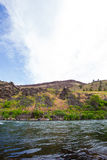 Lower Deschutes River Oregon. Nature scenic from the Lower Deschutes River wild and scenic canyon section on the water stock photography