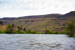 Lower Deschutes River Oregon. Nature scenic from the Lower Deschutes River wild and scenic canyon section on the water stock image