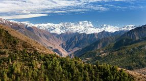 Lower Dolpo - landscape scenery around Dunai. Juphal villages and Dhaulagiri himal from Balangra Lagna pass - western Nepal royalty free stock photo
