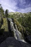 Lower Eagle Falls - Lake Tahoe. Lower Eagle Falls, SOUTH LAKE TAHOE, CA –September 27, 2017: An early morning autumn image of Lower Eagle Falls located at royalty free stock photos