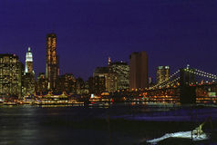 Lower East Side Manhattan New York Night USA. Lower East side of Manhattan near Brooklyn Bridge royalty free stock photography