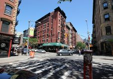 Lower east side street corner. Street corner on a sunny day in Manhattan`s lower east side stock photography