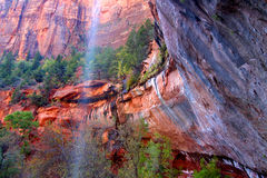 Lower Emerald Pool Waterfall Utah Stock Photo