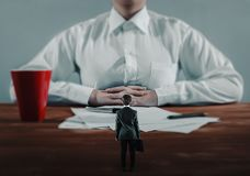 Lower employee meets the big boss. Degree difference concept. The business concept Stock Photo