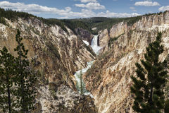Lower Falls from Artist Point in Yellowstone Royalty Free Stock Photos