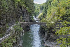 The Lower Falls At Letchworth. State Park In New York Stock Photography