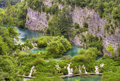 Lower falls in Plitvice lakes, Croatia. Stock Images