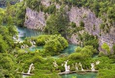Lower falls in Plitvice lakes, Croatia. Scenic view over lower falls in Plitvice, Croatia Stock Images