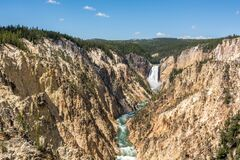 Free Lower Falls The Biggest Waterfall In Famous Yellowstone National Park, Wyoming USA Royalty Free Stock Photo - 169205415