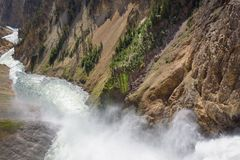Lower falls Yellowstone river. Raging waters. Spray from waterfall. Stock Image