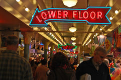 Lower Floor neon sign Pike Place Market Stock Image