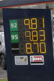 Lower gasoline price in denmark Stock Photography