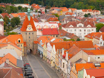 Lower Gate in Domazlice. Aerial view of gothic Lower Gate in Domazlice, Czech Republic Royalty Free Stock Photo