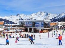 Lower Jardin Alpin  lift station. Ski Resort Courchevel 1850. M in wintertime. FranceSki Resort Courchevel 1850 m in wintertime. France Stock Photo