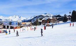 Lower Jardin Alpin  lift station. Ski Resort Courchevel 1850 m. In wintertime. FranceSki Resort Courchevel 1850 m in wintertime. France Royalty Free Stock Photos