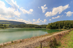 Lower Lake for the Glems Hydropower Station. Reservoir lake of Hydropower Station in Metzingen Glems Stock Photography