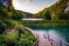 Plitvice Lakes National Park. Lower lakes in Plitvice Lakes National Park at sunset Royalty Free Stock Images