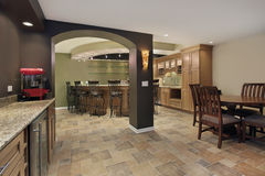 Lower level basement with bar. And chairs Stock Image